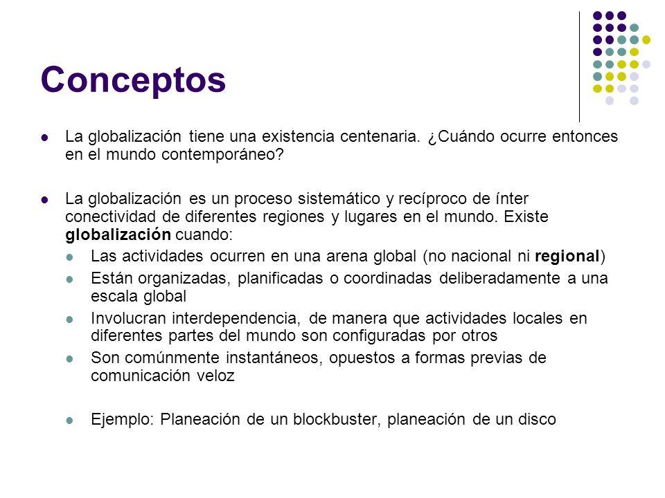 Conceptos La globalización tiene una existencia centenaria. ¿Cuándo ocurre entonces en el mundo contemporáneo? La globalización es un proceso sistemát