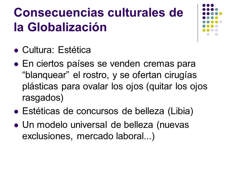 Consecuencias culturales de la Globalización Cultura: Estética En ciertos países se venden cremas para blanquear el rostro, y se ofertan cirugías plás