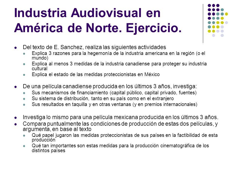 Industria Audiovisual en América de Norte. Ejercicio. Del texto de E. Sanchez, realiza las siguientes actividades Explica 3 razones para la hegemonía