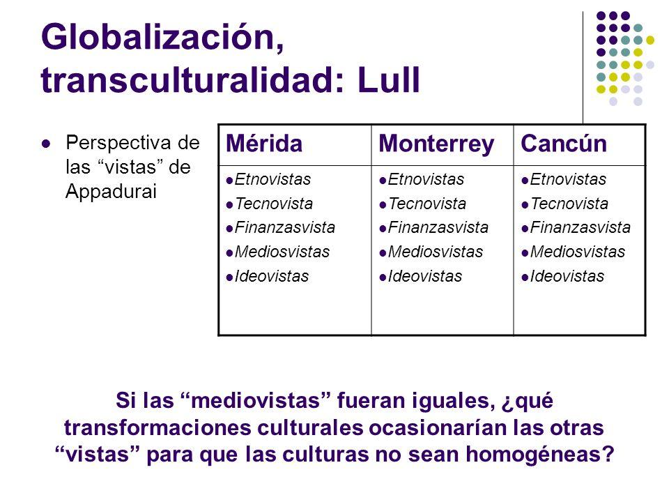 Globalización, transculturalidad: Lull Perspectiva de las vistas de Appadurai MéridaMonterreyCancún Etnovistas Tecnovista Finanzasvista Mediosvistas I