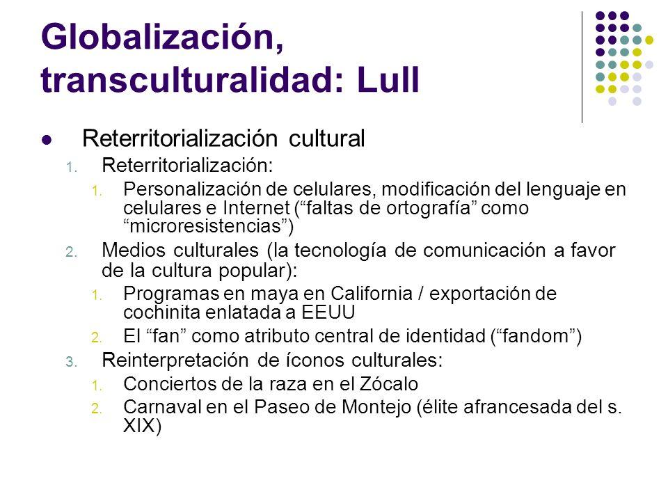 Globalización, transculturalidad: Lull Reterritorialización cultural 1. Reterritorialización: 1. Personalización de celulares, modificación del lengua