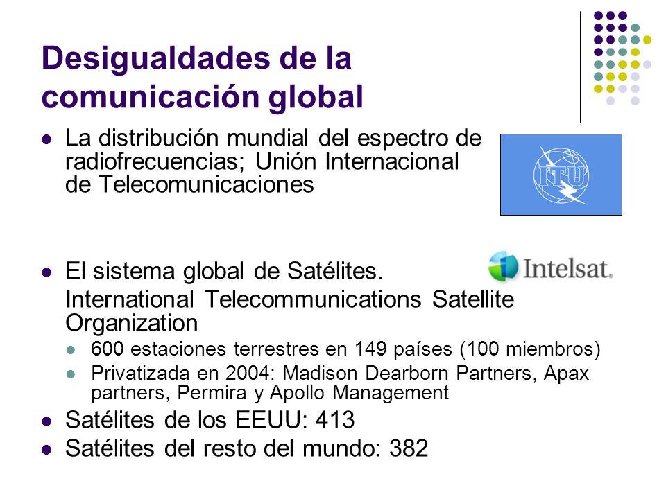 Desigualdades de la comunicación global La distribución mundial del espectro de radiofrecuencias; Unión Internacional de Telecomunicaciones El sistema