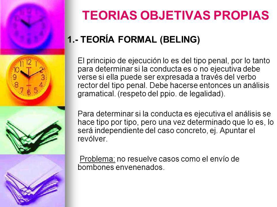 TEORIAS OBJETIVAS PROPIAS 1.- TEORÍA FORMAL (BELING) El principio de ejecución lo es del tipo penal, por lo tanto para determinar si la conducta es o