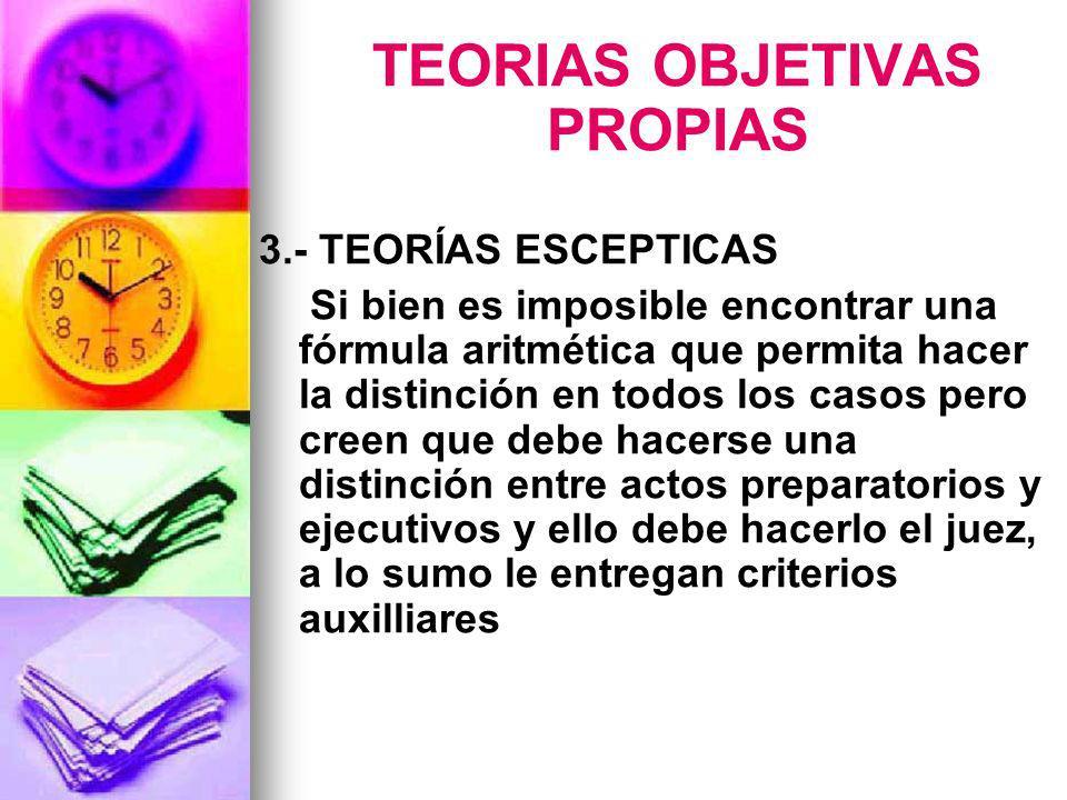 TEORIAS OBJETIVAS PROPIAS 3.- TEORÍAS ESCEPTICAS Si bien es imposible encontrar una fórmula aritmética que permita hacer la distinción en todos los ca
