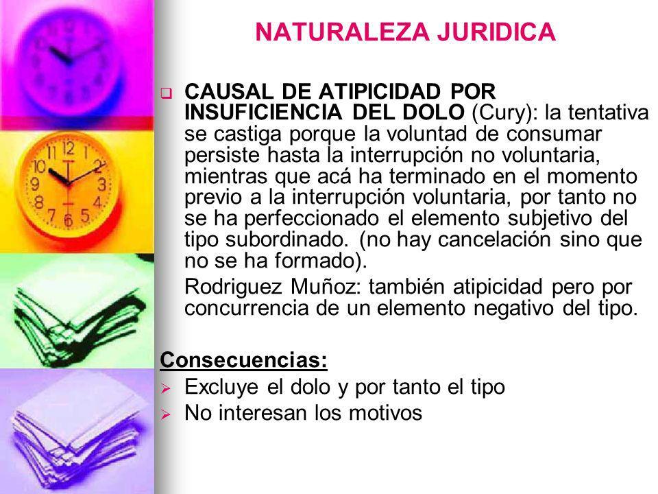 NATURALEZA JURIDICA CAUSAL DE ATIPICIDAD POR INSUFICIENCIA DEL DOLO (Cury): la tentativa se castiga porque la voluntad de consumar persiste hasta la i