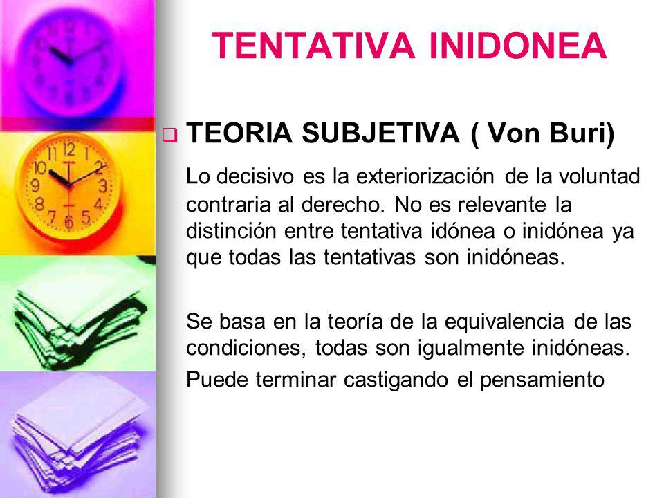 TENTATIVA INIDONEA TEORIA SUBJETIVA ( Von Buri) Lo decisivo es la exteriorización de la voluntad contraria al derecho. No es relevante la distinción e