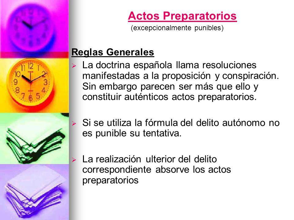 Actos Preparatorios (excepcionalmente punibles) Reglas Generales La doctrina española llama resoluciones manifestadas a la proposición y conspiración.