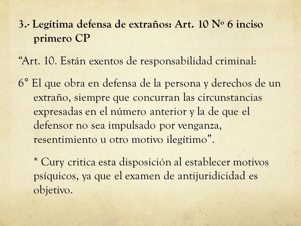 3.- Legítima defensa de extraños: Art. 10 Nº 6 inciso primero CP Art. 10. Están exentos de responsabilidad criminal: 6° El que obra en defensa de la p