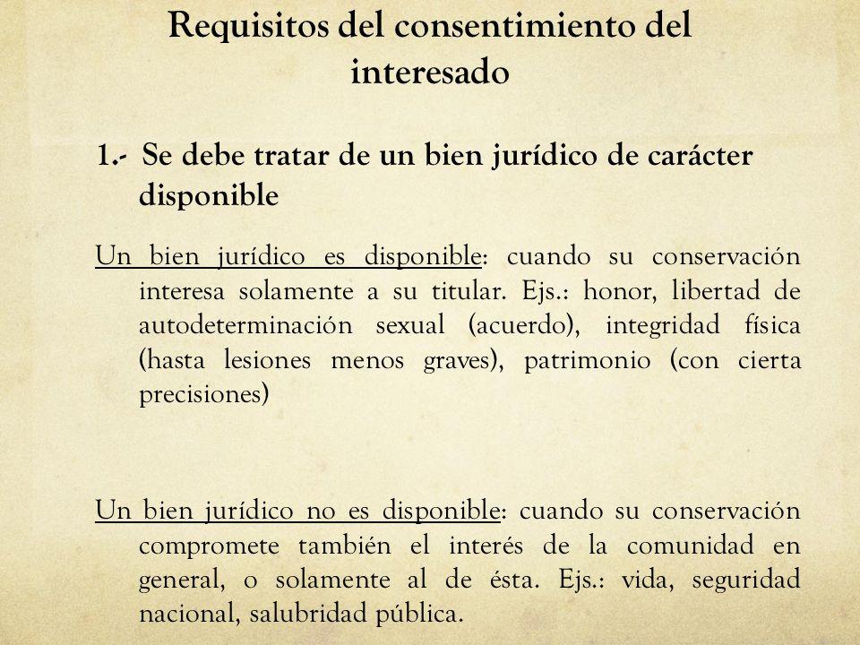 Requisitos del consentimiento del interesado 1.- Se debe tratar de un bien jurídico de carácter disponible Un bien jurídico es disponible: cuando su c