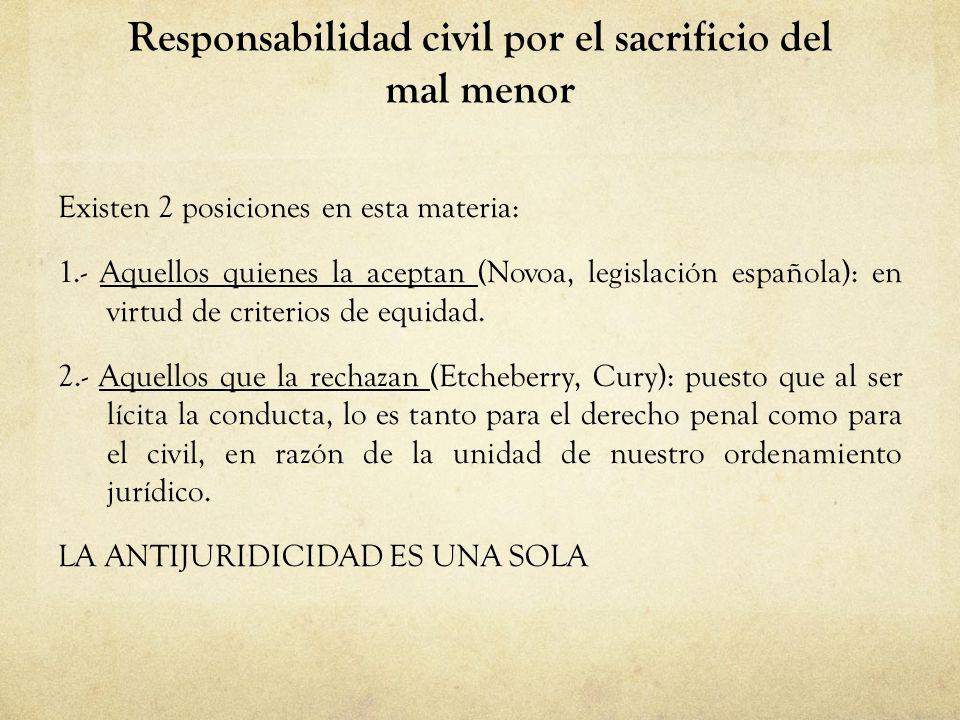 Responsabilidad civil por el sacrificio del mal menor Existen 2 posiciones en esta materia: 1.- Aquellos quienes la aceptan (Novoa, legislación españo