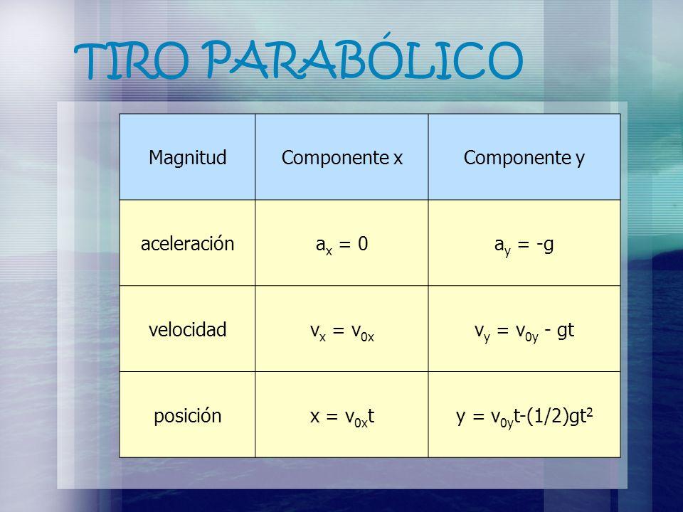 TIRO PARABÓLICO MagnitudComponente xComponente y aceleracióna x = 0a y = -g velocidadv x = v 0x v y = v 0y - gt posiciónx = v 0x ty = v 0y t-(1/2)gt 2