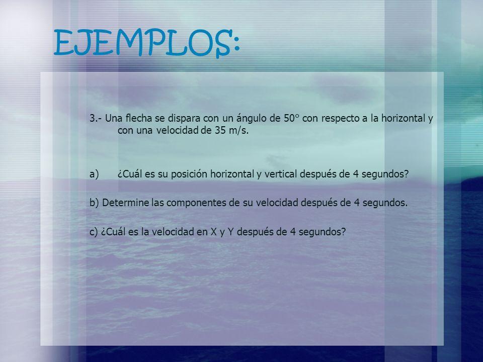 EJEMPLOS: 3.- Una flecha se dispara con un ángulo de 50° con respecto a la horizontal y con una velocidad de 35 m/s. a)¿Cuál es su posición horizontal