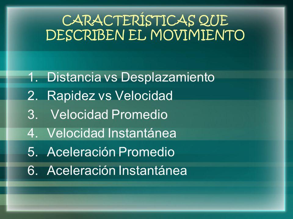 CARACTERÍSTICAS QUE DESCRIBEN EL MOVIMIENTO 1.Distancia vs Desplazamiento 2.Rapidez vs Velocidad 3. Velocidad Promedio 4.Velocidad Instantánea 5.Acele