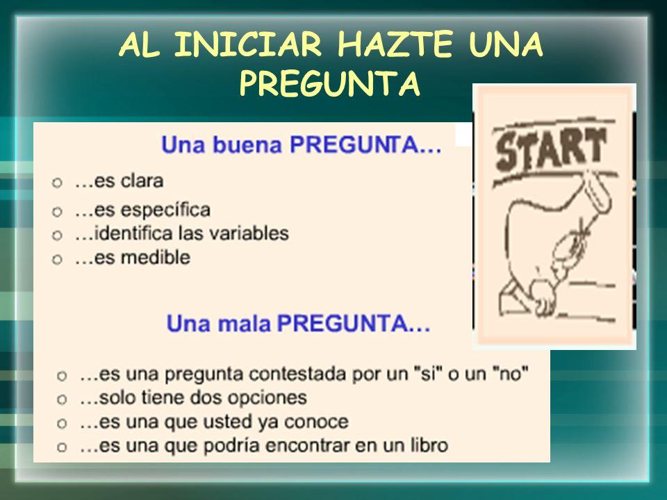 CON ESA PREGUNTA FORMULA TU HIPÓTESIS