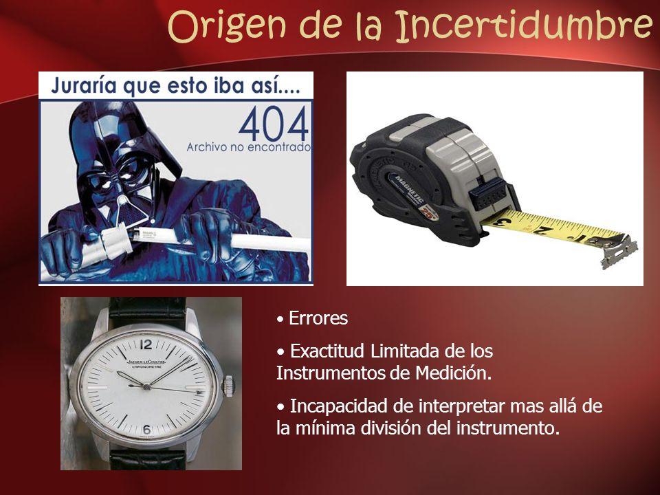 Origen de la Incertidumbre Errores Exactitud Limitada de los Instrumentos de Medición. Incapacidad de interpretar mas allá de la mínima división del i