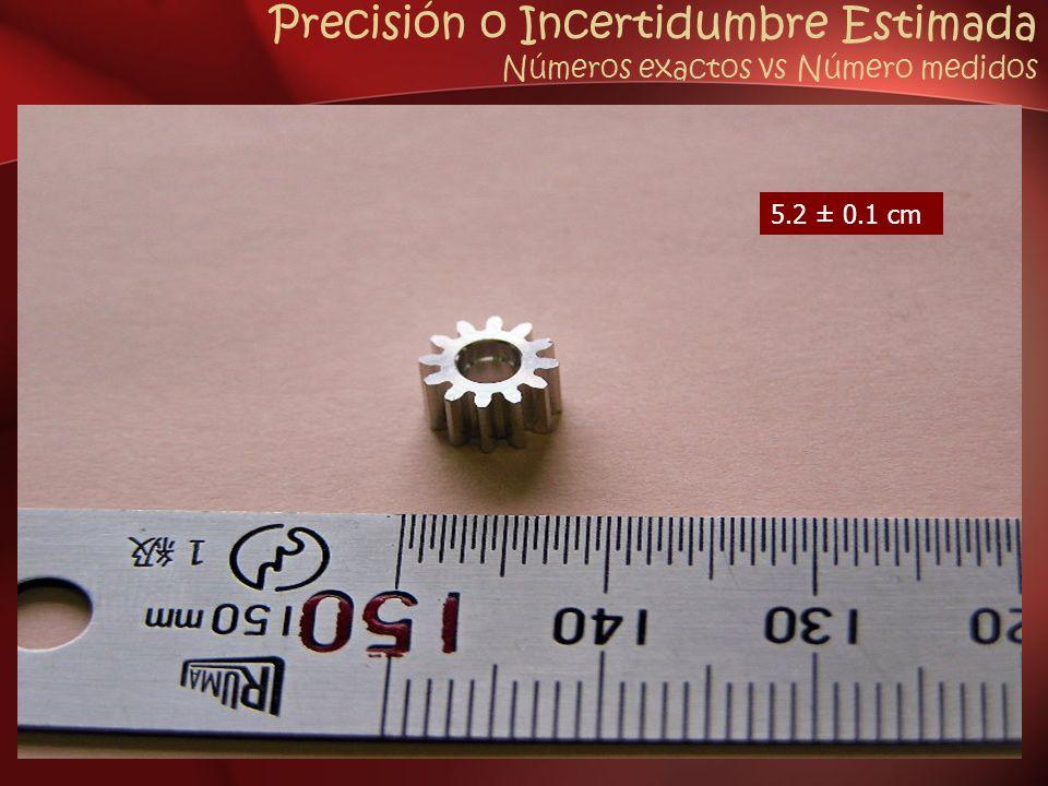 Precisión o Incertidumbre Estimada Números exactos vs Número medidos 5.2 ± 0.1 cm