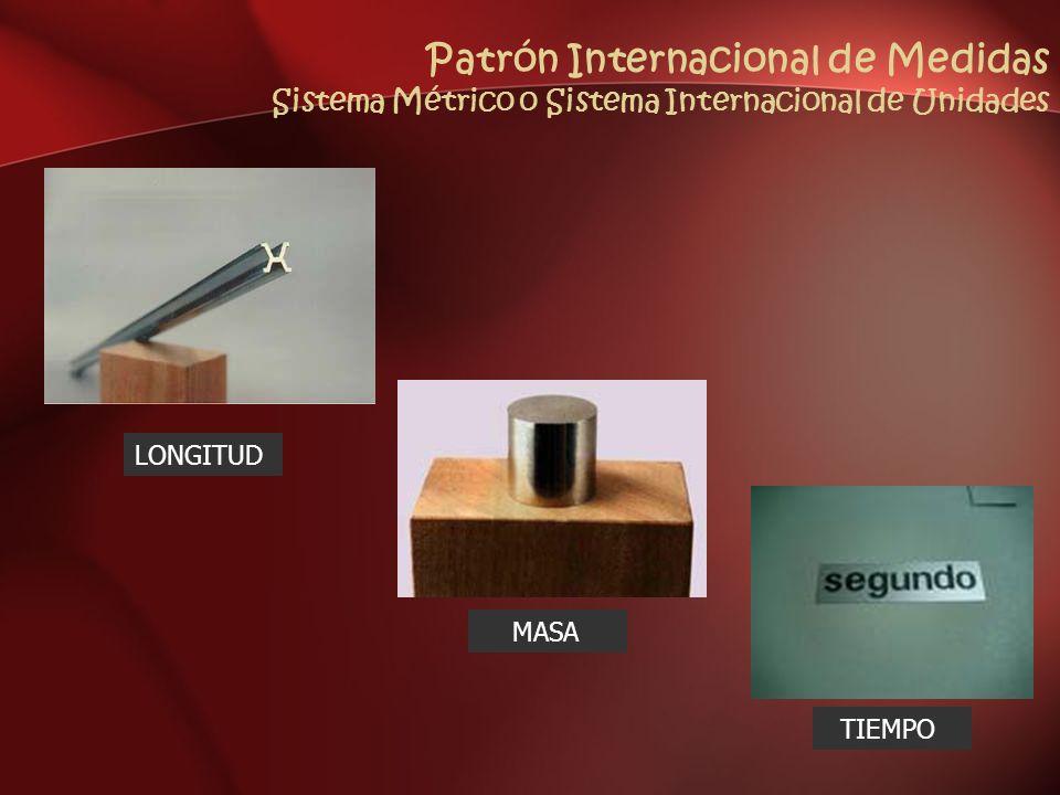 Patrón Internacional de Medidas Sistema Métrico o Sistema Internacional de Unidades LONGITUD MASA TIEMPO