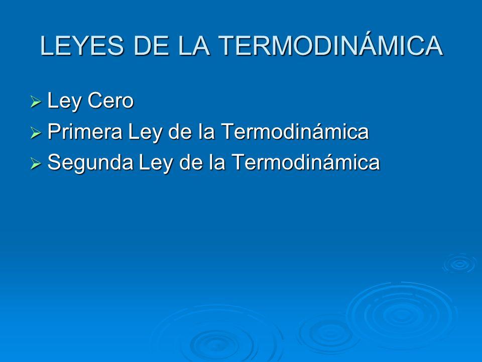 LEYES DE LA TERMODINÁMICA Ley Cero Ley Cero Primera Ley de la Termodinámica Primera Ley de la Termodinámica Segunda Ley de la Termodinámica Segunda Le