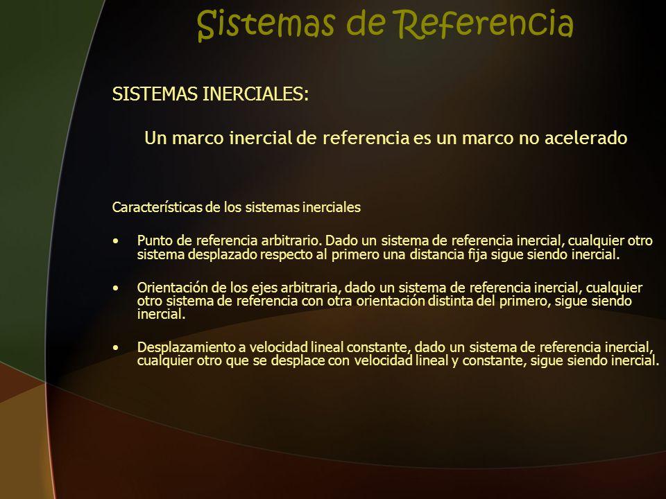 Sistemas de Referencia SISTEMAS INERCIALES: Un marco inercial de referencia es un marco no acelerado Características de los sistemas inerciales Punto