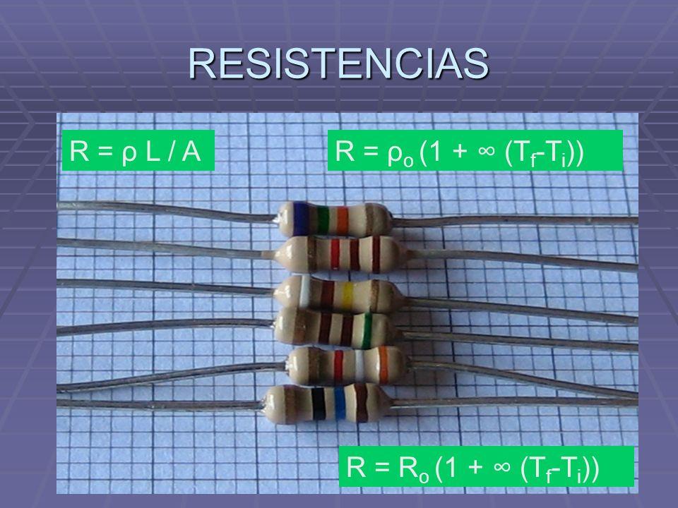 RESISTENCIAS R = ρ L / AR = ρ o (1 + (T f -T i )) R = R o (1 + (T f -T i ))
