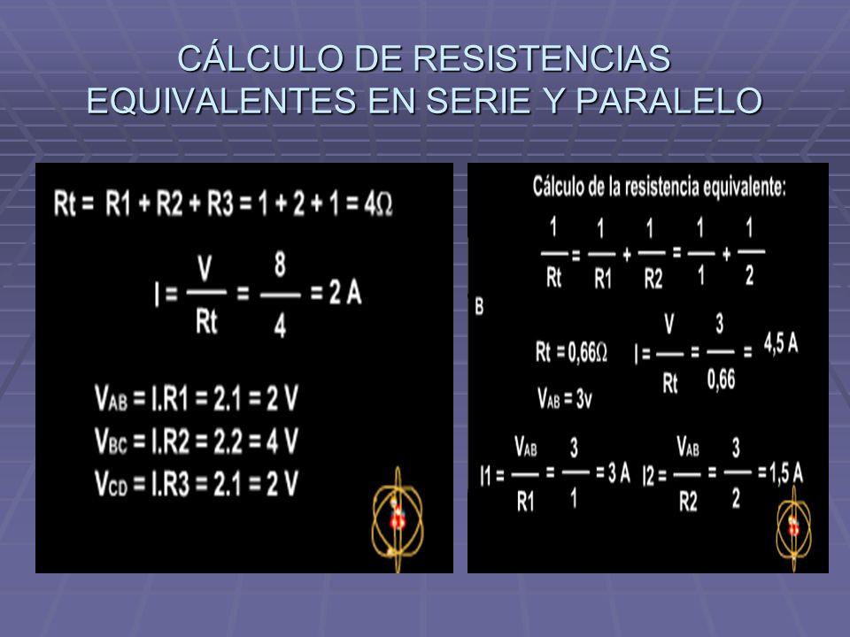 CÁLCULO DE RESISTENCIAS EQUIVALENTES EN SERIE Y PARALELO