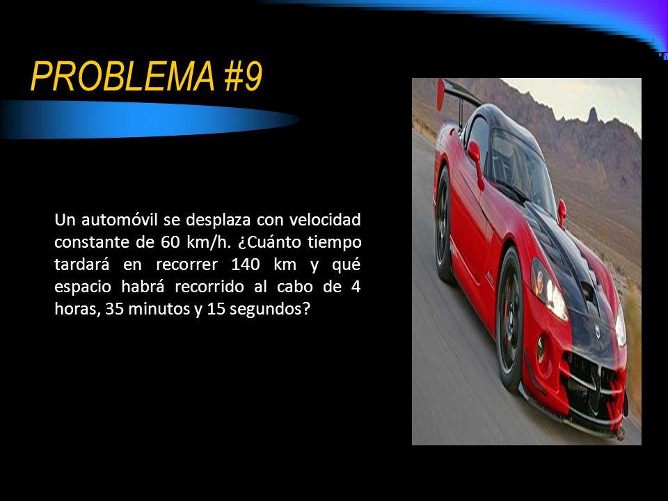 PROBLEMA #9 Un automóvil se desplaza con velocidad constante de 60 km/h. ¿Cuánto tiempo tardará en recorrer 140 km y qué espacio habrá recorrido al ca