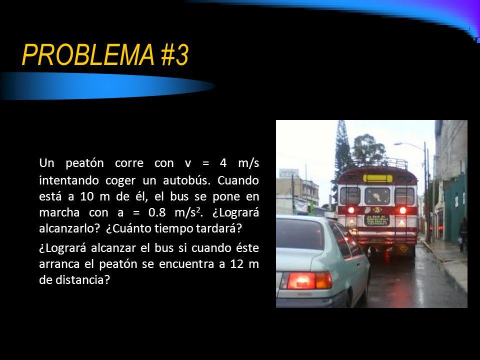 PROBLEMA #3 Un peatón corre con v = 4 m/s intentando coger un autobús. Cuando está a 10 m de él, el bus se pone en marcha con a = 0.8 m/s 2. ¿Logrará