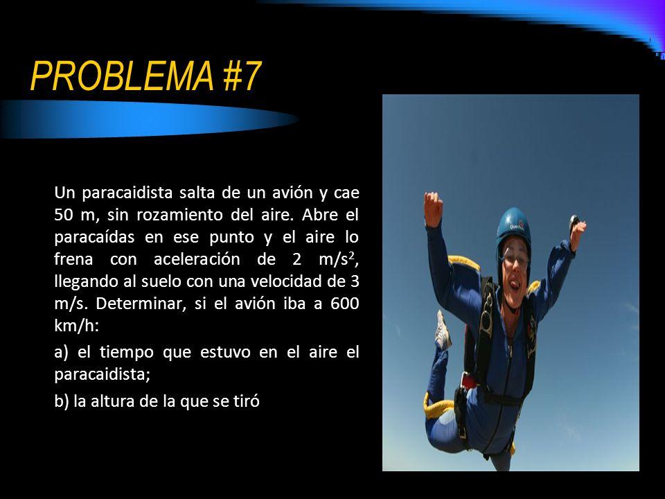 PROBLEMA #7 Un paracaidista salta de un avión y cae 50 m, sin rozamiento del aire. Abre el paracaídas en ese punto y el aire lo frena con aceleración
