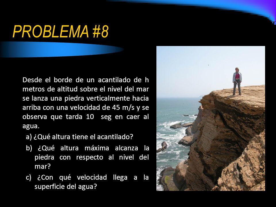 PROBLEMA #8 Desde el borde de un acantilado de h metros de altitud sobre el nivel del mar se lanza una piedra verticalmente hacia arriba con una veloc