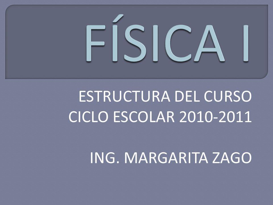 ESTRUCTURA DEL CURSO CICLO ESCOLAR 2010-2011 ING. MARGARITA ZAGO