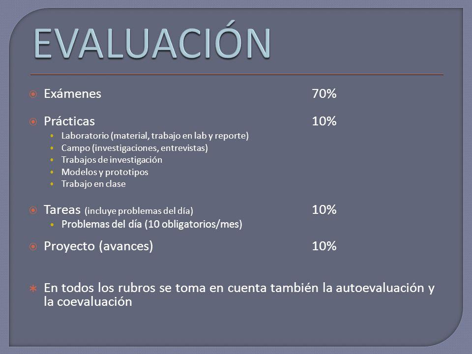 Exámenes70% Prácticas 10% Laboratorio (material, trabajo en lab y reporte) Campo (investigaciones, entrevistas) Trabajos de investigación Modelos y pr