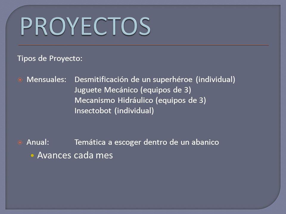 Tipos de Proyecto: Mensuales:Desmitificación de un superhéroe (individual) Juguete Mecánico (equipos de 3) Mecanismo Hidráulico (equipos de 3) Insecto
