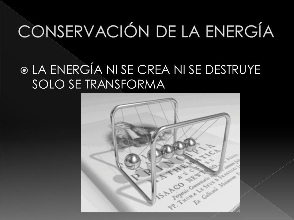 LA ENERGÍA NI SE CREA NI SE DESTRUYE SOLO SE TRANSFORMA
