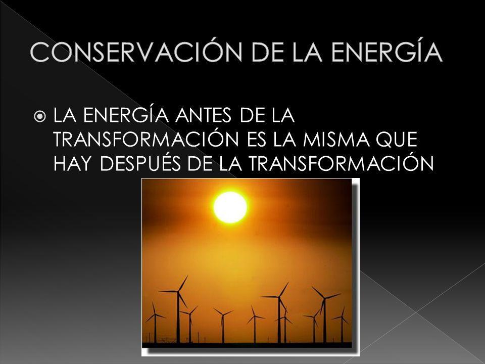 LA ENERGÍA ANTES DE LA TRANSFORMACIÓN ES LA MISMA QUE HAY DESPUÉS DE LA TRANSFORMACIÓN