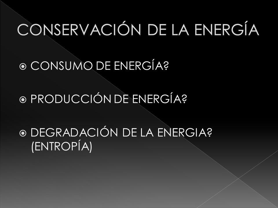 CONSUMO DE ENERGÍA? PRODUCCIÓN DE ENERGÍA? DEGRADACIÓN DE LA ENERGIA? (ENTROPÍA)