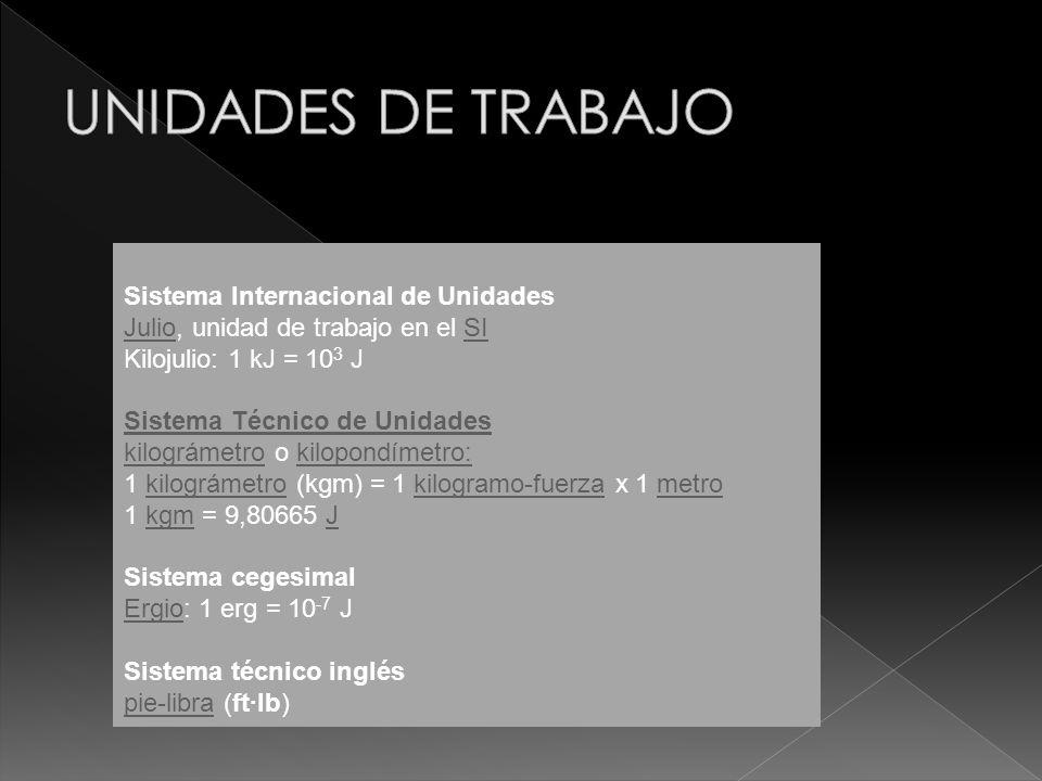 Sistema Internacional de Unidades JulioJulio, unidad de trabajo en el SISI Kilojulio: 1 kJ = 10 3 J Sistema Técnico de Unidades kilográmetrokilográmet
