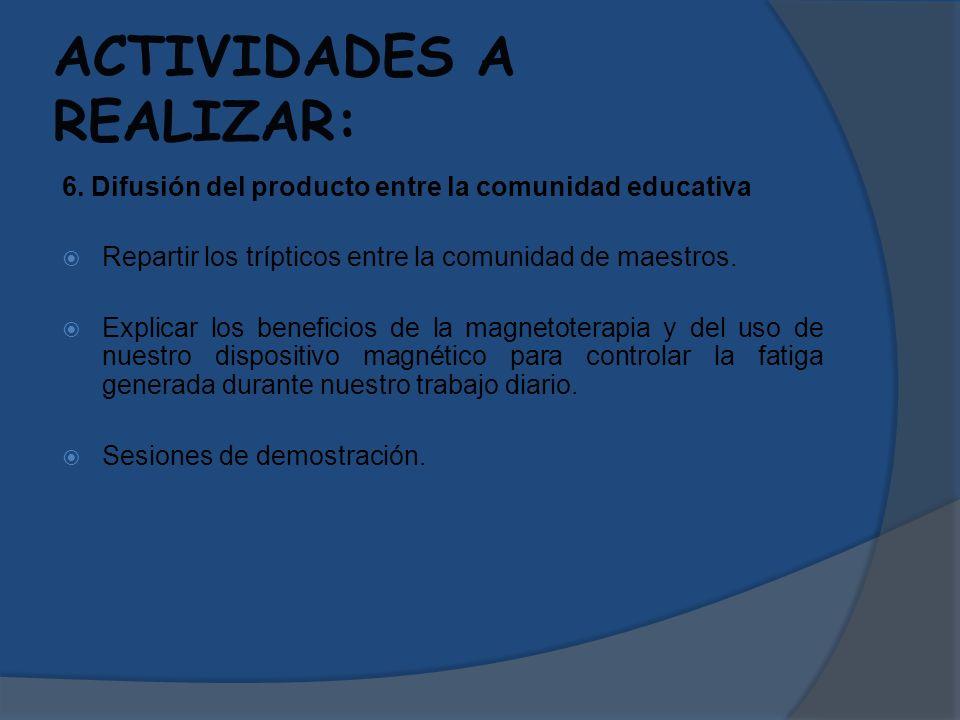 ACTIVIDADES A REALIZAR: 6. Difusión del producto entre la comunidad educativa Repartir los trípticos entre la comunidad de maestros. Explicar los bene