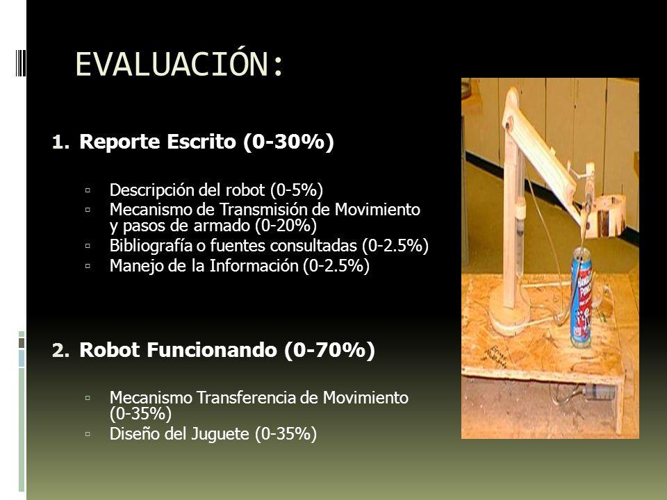 EVALUACIÓN: 1. Reporte Escrito (0-30%) Descripción del robot (0-5%) Mecanismo de Transmisión de Movimiento y pasos de armado (0-20%) Bibliografía o fu