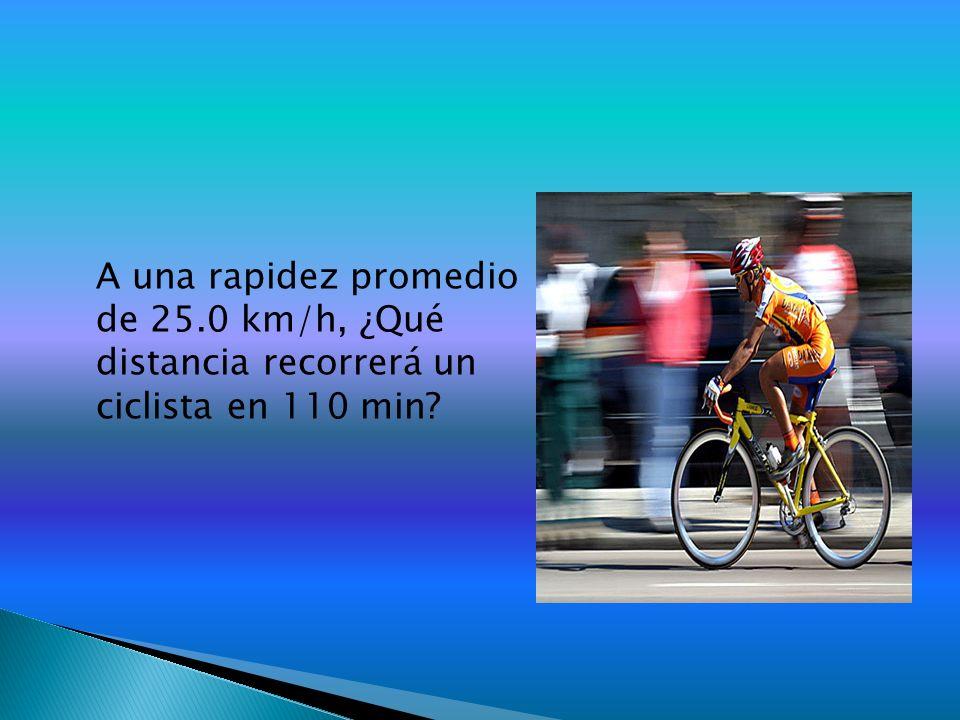 A una rapidez promedio de 25.0 km/h, ¿Qué distancia recorrerá un ciclista en 110 min?