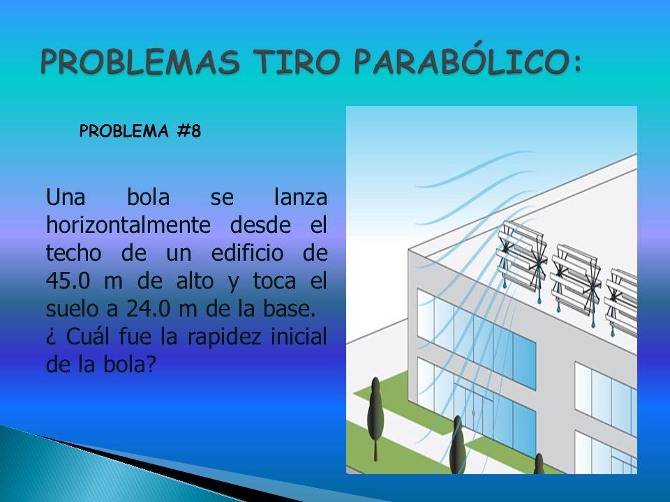 Una bola se lanza horizontalmente desde el techo de un edificio de 45.0 m de alto y toca el suelo a 24.0 m de la base. ¿ Cuál fue la rapidez inicial d