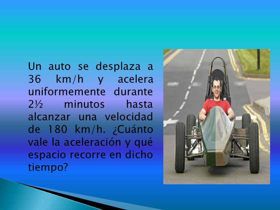 Un auto se desplaza a 36 km/h y acelera uniformemente durante 2½ minutos hasta alcanzar una velocidad de 180 km/h. ¿Cuánto vale la aceleración y qué e