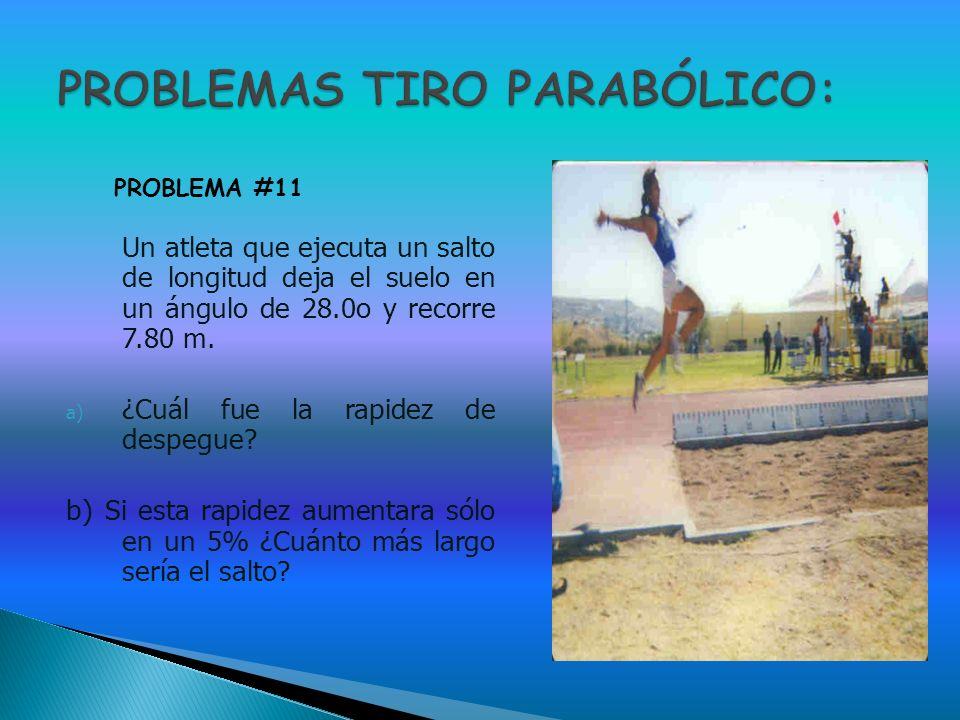 Un atleta que ejecuta un salto de longitud deja el suelo en un ángulo de 28.0o y recorre 7.80 m. a) ¿Cuál fue la rapidez de despegue? b) Si esta rapid