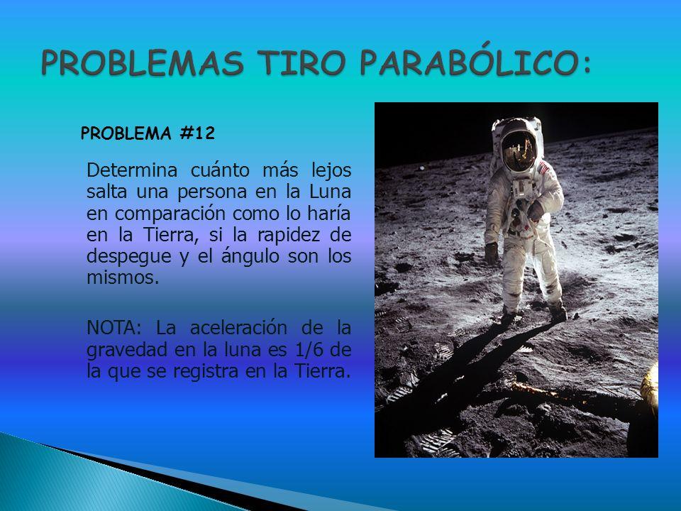 Determina cuánto más lejos salta una persona en la Luna en comparación como lo haría en la Tierra, si la rapidez de despegue y el ángulo son los mismo