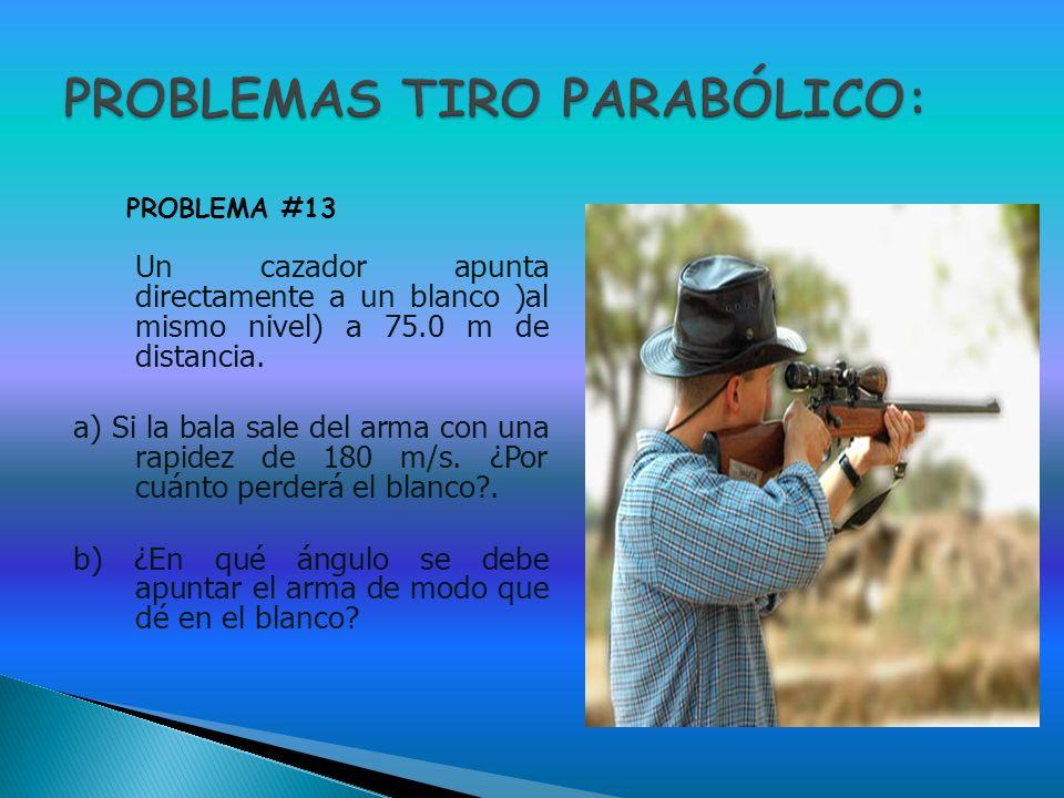 Un cazador apunta directamente a un blanco )al mismo nivel) a 75.0 m de distancia. a) Si la bala sale del arma con una rapidez de 180 m/s. ¿Por cuánto