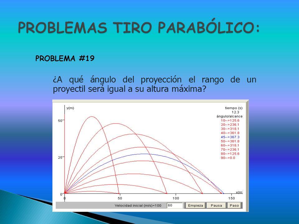¿A qué ángulo del proyección el rango de un proyectil será igual a su altura máxima? PROBLEMA #19