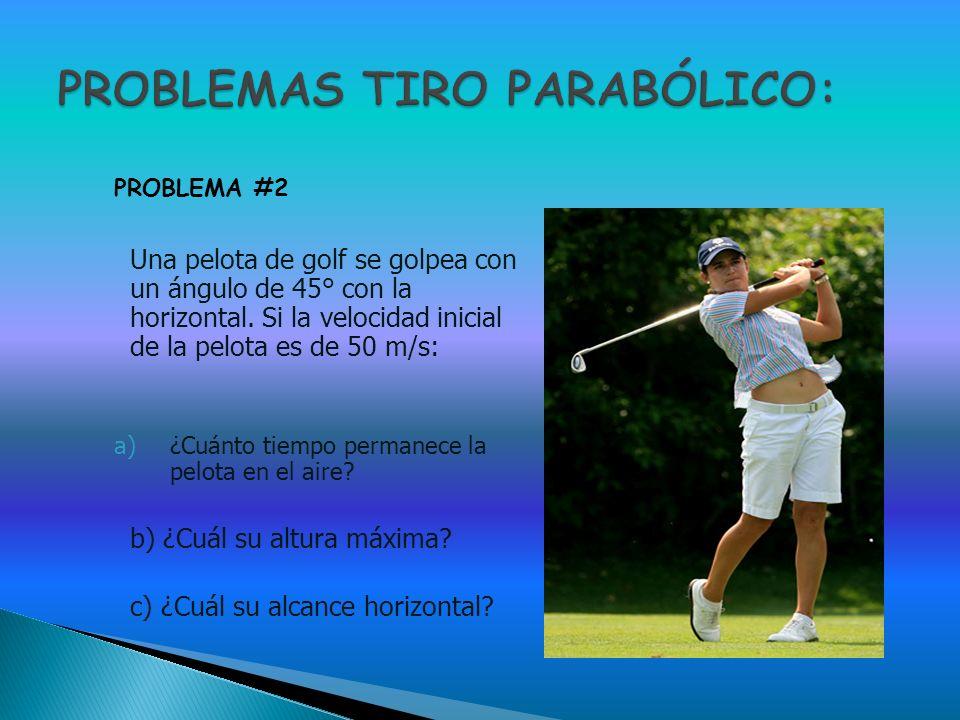 Una pelota de golf se golpea con un ángulo de 45° con la horizontal. Si la velocidad inicial de la pelota es de 50 m/s: a)¿Cuánto tiempo permanece la