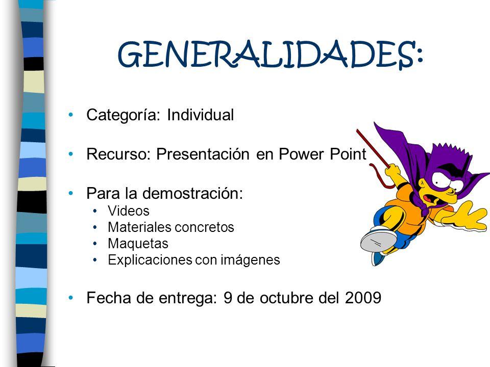 GENERALIDADES: Categoría: Individual Recurso: Presentación en Power Point Para la demostración: Videos Materiales concretos Maquetas Explicaciones con