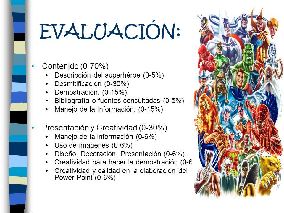 EVALUACIÓN: Contenido (0-70%) Descripción del superhéroe (0-5%) Desmitificación (0-30%) Demostración: (0-15%) Bibliografía o fuentes consultadas (0-5%