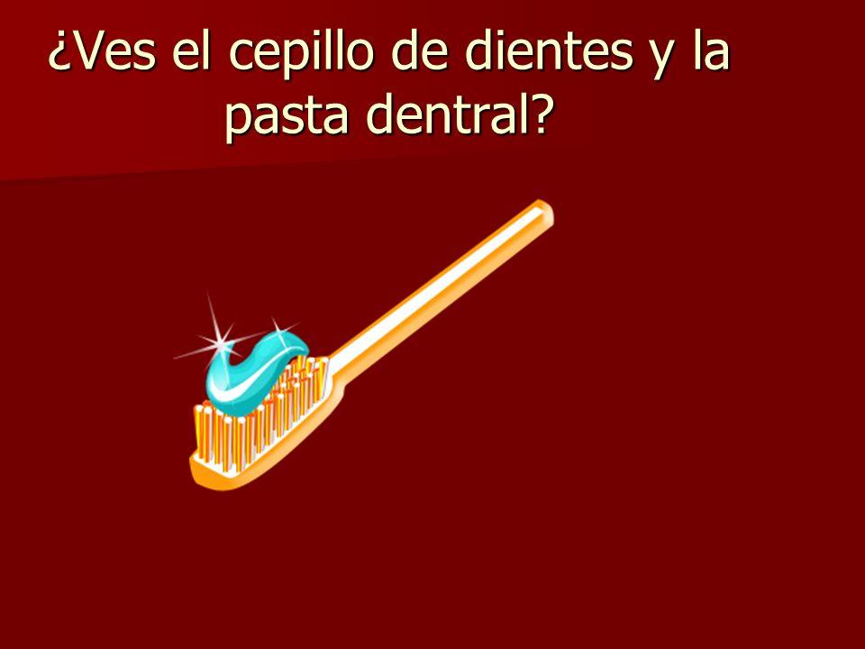 ¿Ves el cepillo de dientes y la pasta dentral?