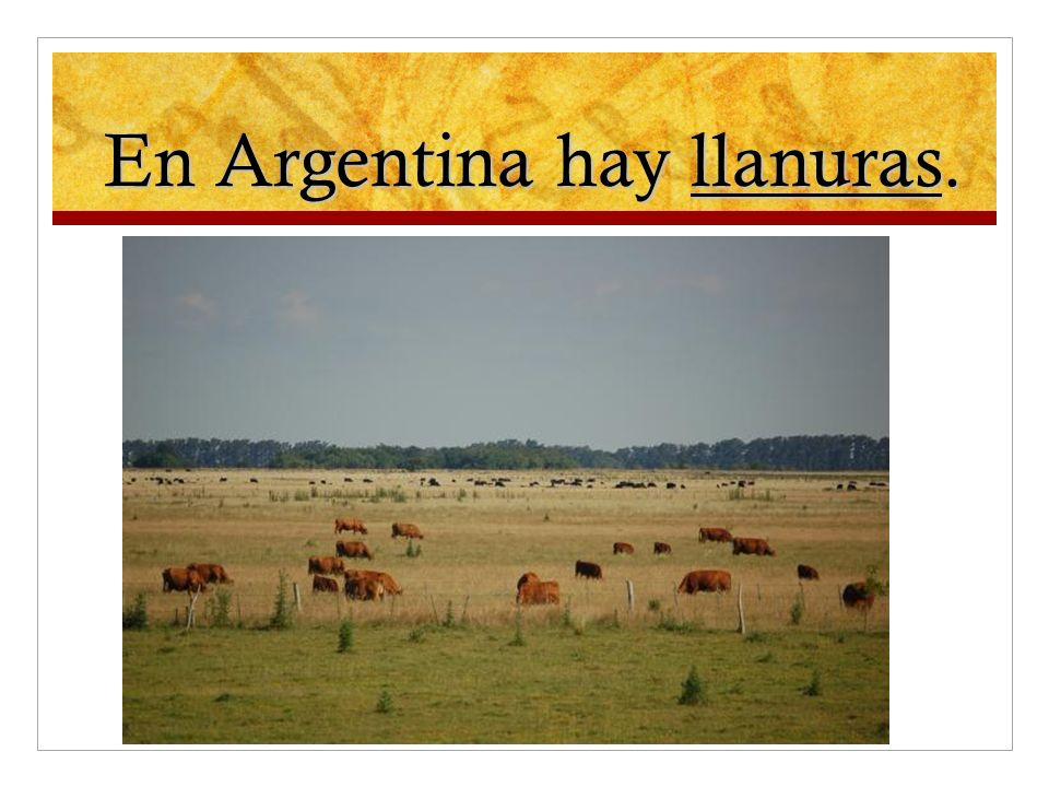 En Argentina hay llanuras.
